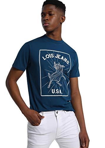 LOIS JEANS - Camiseta con Estampado USA para Hombre | De Algodón | Tallaje en Pulgadas | Talla Inch - M