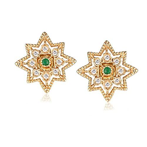 Pendientes de plata de ley para niñas, pendientes de esmeralda natural, pendientes de abanico retro para esposa, novia, regalo de San Valentín o regalo de cumpleaños