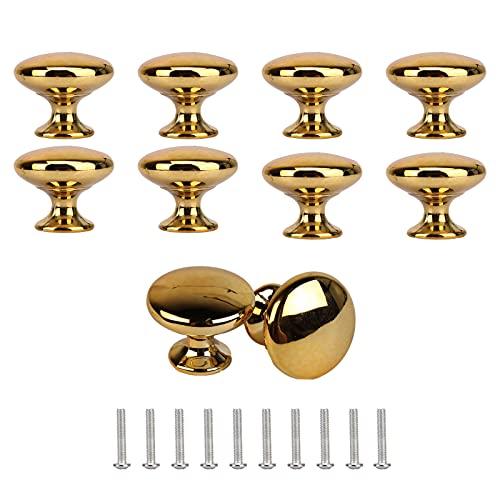 8 Pezzi Pomelli Porta d oro Forma Fungo - Pomolo Mobile Rotondo Pomelli,Maniglia Tonda Monoforo Ottone Massiccio Armadietto con Viti per Mobili Cucina Porta Armadio Cassetto Credenza(30mm * 25mm)