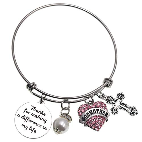 LParkin Godmother Bracelet Thank You for Making a Difference in My Life Bangle Stainless Steel Godmother Gift Jewelry Bracelets …