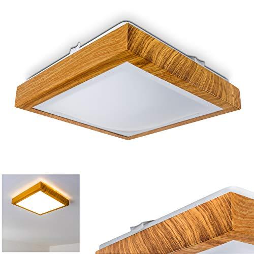 LED Deckenleuchte Sora, eckige aus Metall in moderner Holz-Optik, 12 Watt, 900 Lumen, Lichtfarbe 3000 Kelvin (warmweiß), IP44, auch für das Badezimmer geeignet