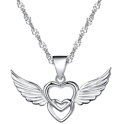Unendlich U 925 Sterling Silber Ketten mit Anhänger Doppel Herzen mit Engel Flügel Halskette in Weihnachtsstrumpf