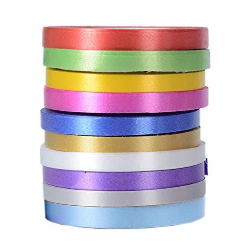 Juego de 10 rollos de cinta para envolver regalos, bodas, fiestas, manualidades (10 colores, 10 m, rollo de 5 mm)