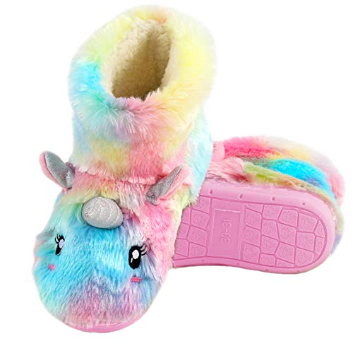 Anddyam Kids Family Unicorn Slippers Household Anti-Slip Indoor Home Slippers for Girls and Boys (12.5-13.5 Little Kid, Colorful)