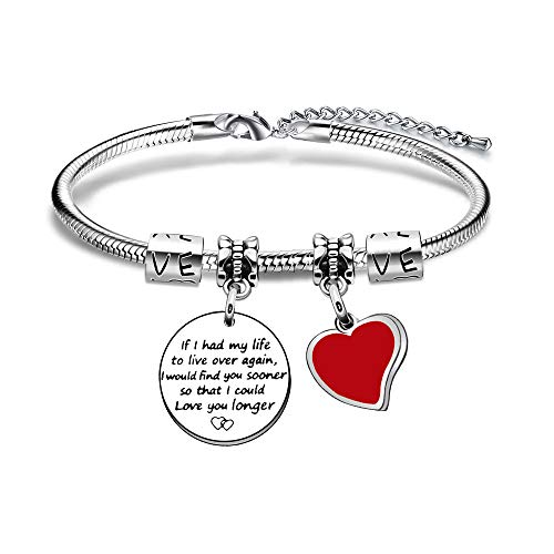 JIYAOANDX Love Bangle Bracelet Lovers Birthday Valentines Day Girlfriend Wife Women Jewellery Engraving Wedding Anniversary Present