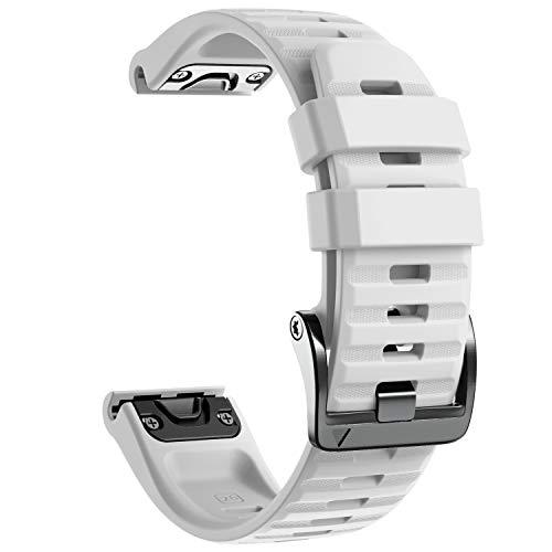 NotoCity pour Bracelet Fenix 6X, Sangle de Rechange en Silicone Souple de 26 mm pour Fenix 6X/Fenix 6X Pro/Fenix 5X/Fenix 5X Plus/Fenix 3/HR/Descent MK1/D2 Delta PX/D2 Charlie(Blanc)