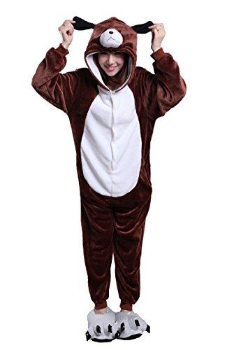 Honeystore Unisex Braun Hund Pyjamas Halloween Siamesische Kleidung Kostüm Cosplay Party L