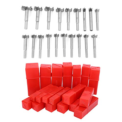 19tlg Forstnerbohrer Set, 10/12 / 15/16/ 17/18 / 19/20 / 21/22 / 23/24 / 25/26 / 28/30 / 32/35 / 40mm Holzbohrer-Set, für Holzbearbeitung Mehrzweckbohrer