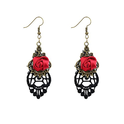 Mujeres Flor Rosa Roja Aretes - G├│tico Cord├│n Anzuelo Pendientes
