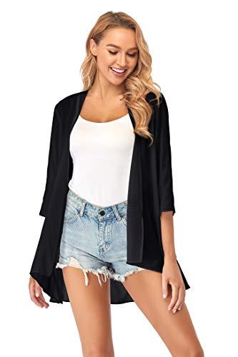 Ietaoo Strickjacke Damen Kimono Cardigan Chiffon Boho 3/4 Arm Leichte Sommerjacke Strand Cover Up Shawl Bluse