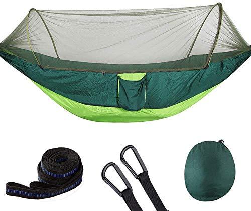 MVNZXL Hamaca portátil para Acampar con mosquitera, luz emergente Hamacas de paracaídas al Aire Libre Columpio Hamaca para Dormir Material para Acampar