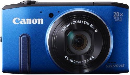 Canon PowerShot SX 270 HS Digitalkamera (12 MP, 20-Fach Opt. Zoom, 7,6cm (3 Zoll) LCD-Bildschirm, bildstabilisiert) blau