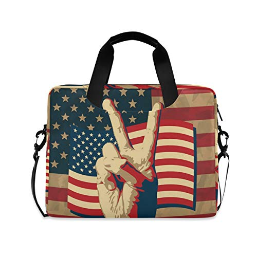 XIXIKO Victory Sign with USA Flag Laptop Bag Expandable Trolley Briefcase Bag for Women Men with Detachable Strap for Work Trip Business Travel iPad MacBook
