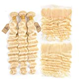 Blonde Loose Deep Wave Bundles With Frontal Ear To Ear Blonde Brazilian Human Hair 3 Bundles With Closure Remy #613 24 24 24 & Closure20