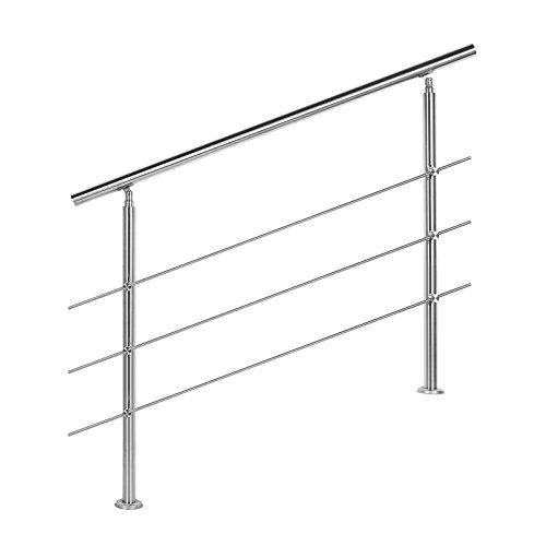 Treppengeländer Edelstahl 3 Querstäbe 120cm Brüstung Handlauf Geländer Treppe