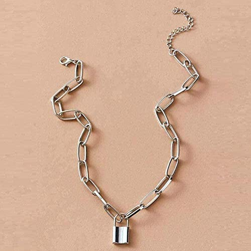 NC188 Necklace Padlock Pendant Necklace Simple Punk Hip-Hop Padlock Necklaces For Women Silver Color Chunky Chain Necklace On Neck Necklace