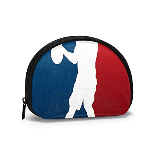 Basketball Silhouette Professional Athlete With Ball On Flag Colored Backdrop Women and Girls Small Mini Oxford Fabric Cloth Bag Wallet Printed PU Leather Travel Wallet