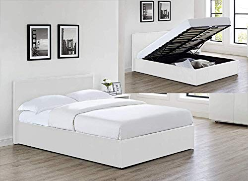 Modernique White Faux Leather Ottoman Storage Single (3ft) Bed and Super Firm Mattress, 3 different mattress and 3 Colours Bed Available. (White, Super Firm Mattress)