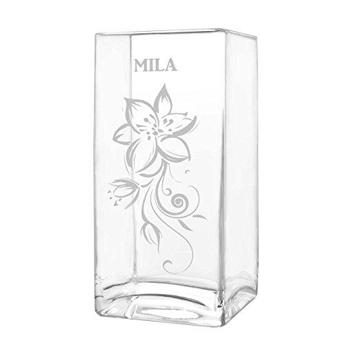 polar-effekt Blumenvase mit Gravur - Vase Personalisiert mit Name - Glasvase als Muttertagsgeschenk - Geschenkideen für Frauen - Motiv verzierte Blumenranke