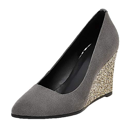 MISSUIT Damen Keilabsatz High Heels Geschlossen Pumps Glitzer Spitz Wedges Slip on Schuhe(Grau,35)