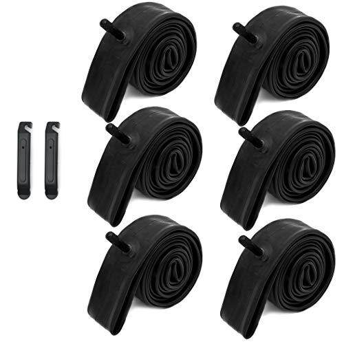 24' x 1.75/1.95/2.125 Bike Replacement Inner Tubes with Schrader Valve for Road/Mountain Bikes Like Schwinn High Timber and Huffy Hardtail | Make of Heavy Duty Rubber (6-Pack)