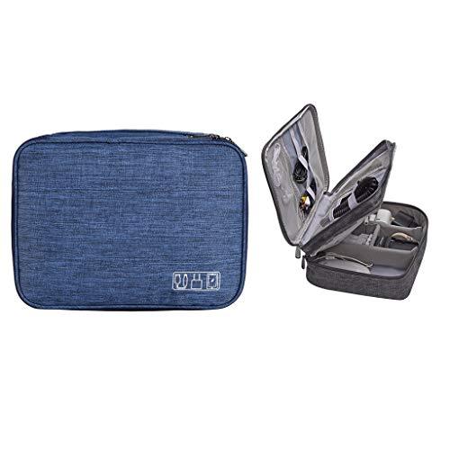 MEIBAOGE Travel USB Flash Drives Organizador Bolsa Bolsa de Almacenamiento Digital Cable de Auriculares de Datos, Bolsa de Almacenamiento-Azul Profundo