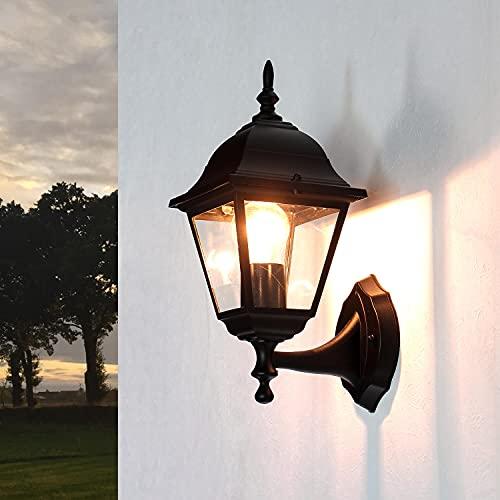 Wandleuchte rustikal außen schwarz 1x E27 bis 60W 230V Wandlampe IP44 Außenleuchte nostalgisch Up Leuchte stehend aufwärts Gartenlampe Hof Beleuchtung Laterne