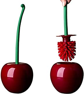 PUMYPOREITY Juego de Escobilla de Inodoro y Soporte Cepillo Decorativo de Cerezo WC Juego de Cepillo de Plástico Toliet He...