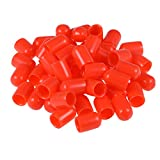 uxcell 50pcs Rubber End Caps 8mm ID Vinyl Round Tube Bolt Cap Cover Thread Protectors Red