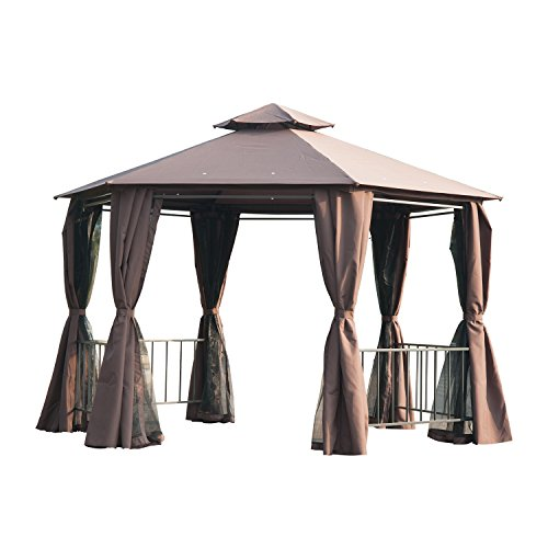 Outsunny Hexagon Gazebo Patio Canopy Party Tent Outdoor Garden Shelter w/ 2 Tier Roof & Side Panel - Brown