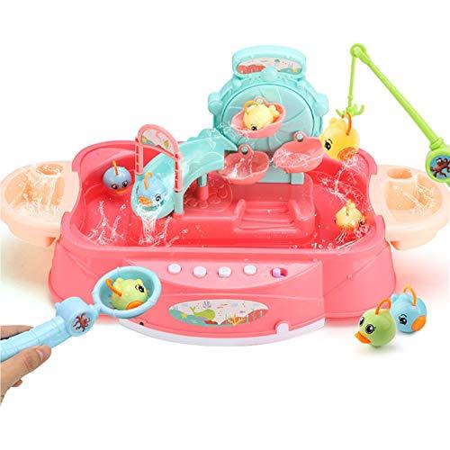TWW Juguete de Agua Recargable Diaoyutai, Toma de Agua eléctrica 1-2-3 años Rompecabezas de educación temprana para bebés niños y niñas,Rosado