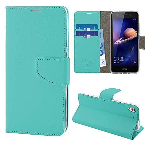 N NEWTOP Cover Compatibile per Huawei Y6 II, HQ Lateral Custodia Libro Flip Chiusura Magnetica Portafoglio Simil Pelle Stand (Turchese)