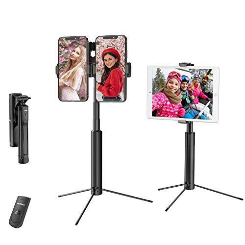 Mpow Selfie Stick Stativ für iPad, 4 in 1 Handy Stativ mit Zwei Handyhalter, Bluetooth-Fernbedienung für iPhone 12 mini/12/12 Pro/12 Pro Max/11/11 Pro, Galaxy Note 20/ S20/S10, iPad/GoPro/Kamera