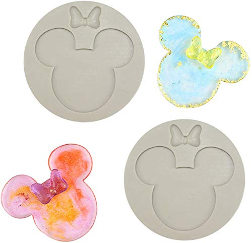 2 Pack Silicone Mold Mickey Mouse Head Shape Silicone Molds Candy Gum...