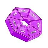 Allinbuy 2 unids/Set Caso plástico 7 cuadrícula Tablet Box portátil Almacenamiento Tableta Tableta Organizador de Viaje, púrpura