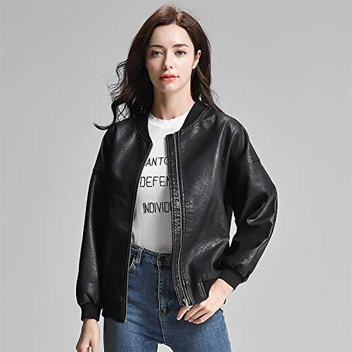 TIKEHAN Dames Moto vestes en Cuir Femmes o cou fermeture éclair Mince Noir Rose moteur Motard Veste Femme Blousons