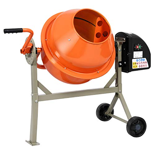 Electric Wheelbarrow Mixer for Cement Concrete Mortar, 2 1/4 Cu.Ft Concrete Mixer Machine with Stand, Garden Cement Mixing Machine with Steel Drum (Orange Grey)