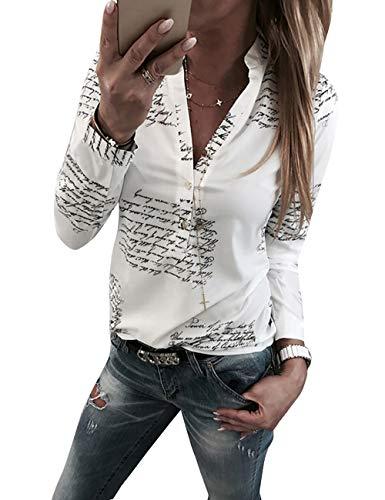 Yieune Damen Bluse Langarm V-Ausschnitt Elegant Blumen Hemd Casual Oberteile Tops (Weiß M)