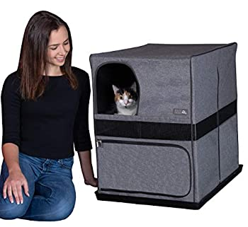 Pet Gear Pro Pawty for Cats with Mesh Mat & Tray Put an End to Scattered Litter Box Not Included Soft Charcoal