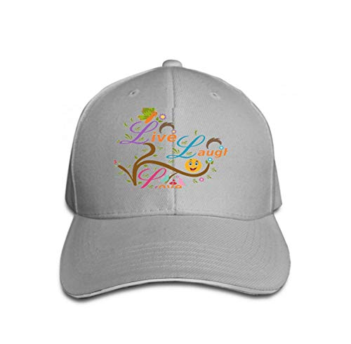 Adult Grid Baseball Caps Unisex Sunshade Hat Mesh Hat Snapback Cap Live Laugh Love Live Laugh Love Butterfly Birds Smiley Can Be Used Card Designs