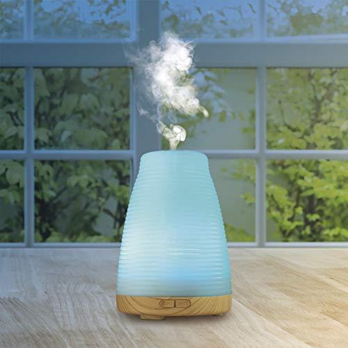 VITALmaxx Aroma Diffuser Luftbefeuchter | Mit ätherischen Ölen kombinierbar zur Aromatherapie und Luftzerstäuber | Holzmaserung und LED mit 4 Farben (Weiß)