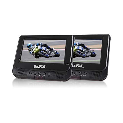 Reproductor DVD Dual de 7 Pulgadas portátil BSL-7DX | Reproductor de Archivos Multimedia Puertos USB y SD | batería incorporada | Sistemas de fijación para el vehículo |