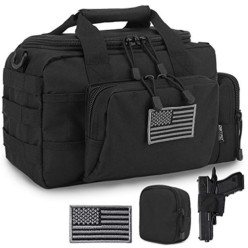 DBTAC Gun Range Bag Small | Tactical 2X Pistol Shooting Range Duffle Bag with Lockable Zipper for Handguns and Ammo (Black)