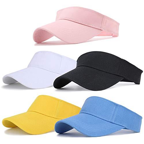 Ultrafun Unisex Sports Sun Visor Adjustable UV Protection Sun Hat Cap for Beach Pool Golf Tennis (5Pack)