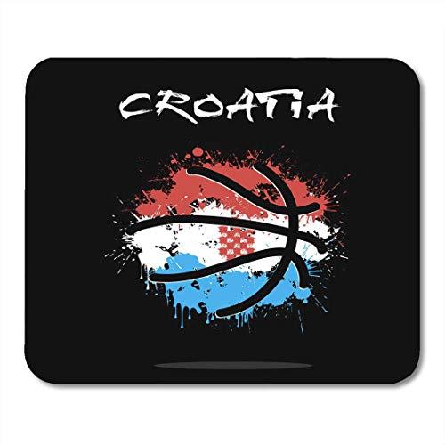 QDAS Mauspads Roter Fleck-Basketball-Ball in den Farben der Kroatien-Flaggen-Basketball-Meisterschaft Mauspad Für Notebooks Computer