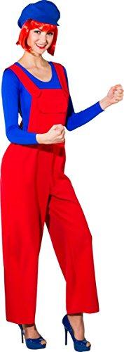 Fasching Damen Latzhose blau oder rot (rot, 40/42)