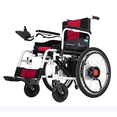 YUXINCAI Elektro-Rollstuhl Leicht Faltbare Beweglichen Scooter Lithium-Ionen-Elektroantrieb Oder Als Manueller Rollstuhl (Rot Kissen)