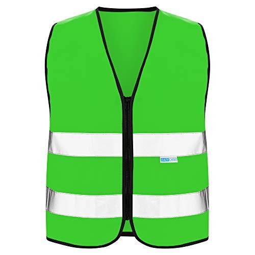EAZY CASE Reflektorweste für Kinder, Sicherheitsweste, Reißverschluss-Warnweste mit Reflektoren, atmungsaktiv, Reflektierend, zur Erhöhung der Sichtbarkeit im Straßenverkehr, M, Grün