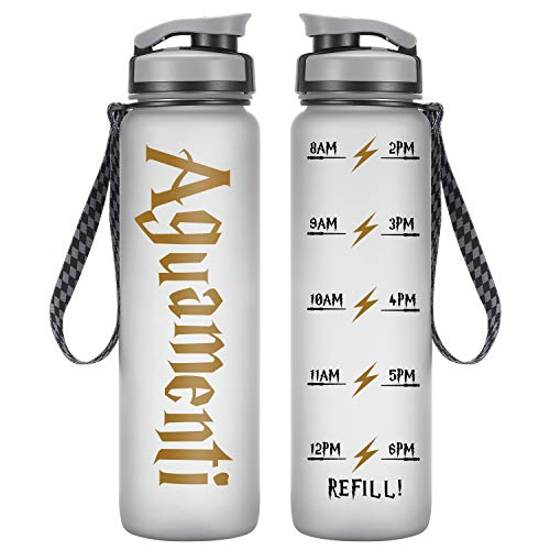 LEADO 32oz 1Liter Motivational Water Bottle w/Time Marker, Aguamenti HP Merchandise - Funny Valentines Day, Potterhead Birthday Gifts for Women, Men, Friend, Mom, Dad, Wife, Husband - Drink More Water