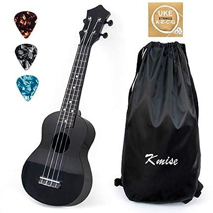 Kmise Soprano Ukulele 21 pulgadas Instrumento de regalo para niños con cuerda de sintonizador de bolsa de transporte (black)